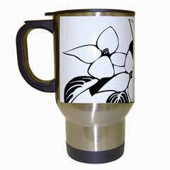 Ecological Floral Flowers Leaf Travel Mugs (white)