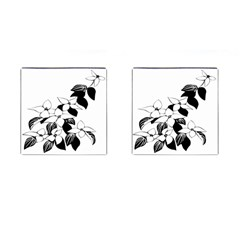 Ecological Floral Flowers Leaf Cufflinks (square) by Nexatart