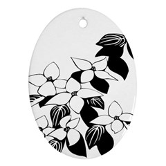 Ecological Floral Flowers Leaf Oval Ornament (two Sides)
