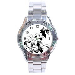 Ecological Floral Flowers Leaf Stainless Steel Analogue Watch