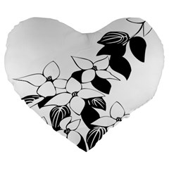 Ecological Floral Flowers Leaf Large 19  Premium Heart Shape Cushions by Nexatart
