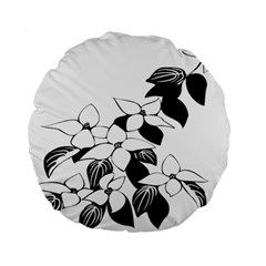 Ecological Floral Flowers Leaf Standard 15  Premium Flano Round Cushions by Nexatart
