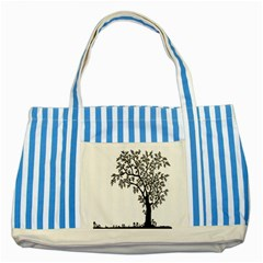 Flowers Landscape Nature Plant Striped Blue Tote Bag by Nexatart