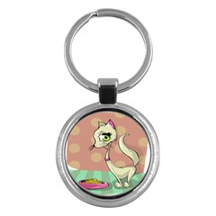 Cat Food Eating Breakfast Gourmet Key Chains (round)