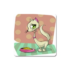 Cat Food Eating Breakfast Gourmet Square Magnet by Nexatart