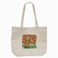 Cat Food Eating Breakfast Gourmet Tote Bag (cream)