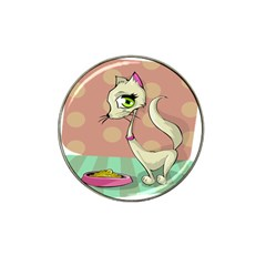 Cat Food Eating Breakfast Gourmet Hat Clip Ball Marker (4 Pack) by Nexatart
