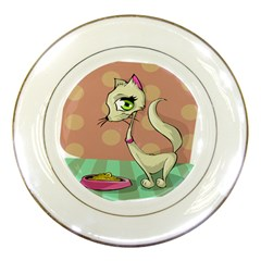 Cat Food Eating Breakfast Gourmet Porcelain Plates by Nexatart