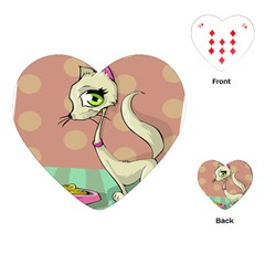 Cat Food Eating Breakfast Gourmet Playing Cards (heart)