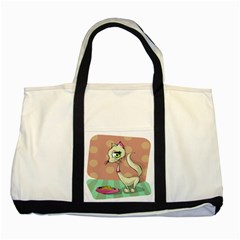Cat Food Eating Breakfast Gourmet Two Tone Tote Bag
