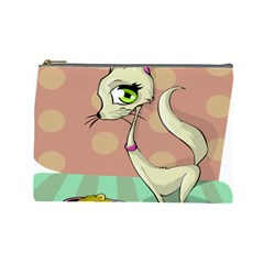 Cat Food Eating Breakfast Gourmet Cosmetic Bag (large)  by Nexatart