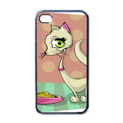 Cat Food Eating Breakfast Gourmet Apple Iphone 4 Case (black)
