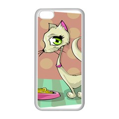 Cat Food Eating Breakfast Gourmet Apple Iphone 5c Seamless Case (white) by Nexatart