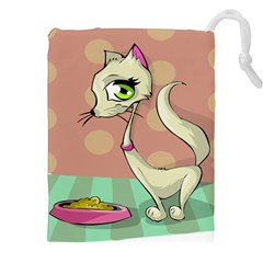 Cat Food Eating Breakfast Gourmet Drawstring Pouches (xxl) by Nexatart