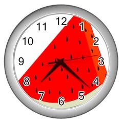 Fruit Harvest Slice Summer Wall Clocks (silver)  by Nexatart