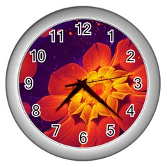 Royal Blue, Red, And Yellow Fractal Gerbera Daisy Wall Clocks (silver)  by beautifulfractals