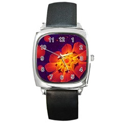 Royal Blue, Red, And Yellow Fractal Gerbera Daisy Square Metal Watch by jayaprime