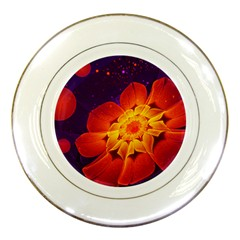 Royal Blue, Red, And Yellow Fractal Gerbera Daisy Porcelain Plates by jayaprime
