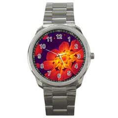 Royal Blue, Red, And Yellow Fractal Gerbera Daisy Sport Metal Watch by jayaprime