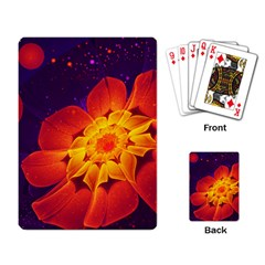 Royal Blue, Red, And Yellow Fractal Gerbera Daisy Playing Card by beautifulfractals