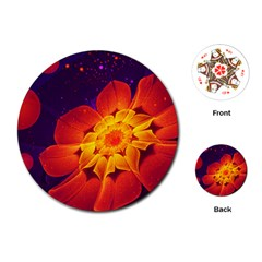 Royal Blue, Red, And Yellow Fractal Gerbera Daisy Playing Cards (round)  by beautifulfractals