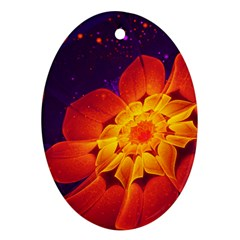 Royal Blue, Red, And Yellow Fractal Gerbera Daisy Oval Ornament (two Sides) by jayaprime