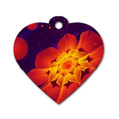 Royal Blue, Red, And Yellow Fractal Gerbera Daisy Dog Tag Heart (one Side) by jayaprime