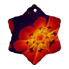 Royal Blue, Red, And Yellow Fractal Gerbera Daisy Ornament (snowflake) by jayaprime