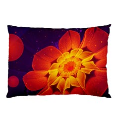 Royal Blue, Red, And Yellow Fractal Gerbera Daisy Pillow Case (two Sides) by jayaprime