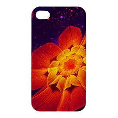 Royal Blue, Red, And Yellow Fractal Gerbera Daisy Apple Iphone 4/4s Premium Hardshell Case by jayaprime