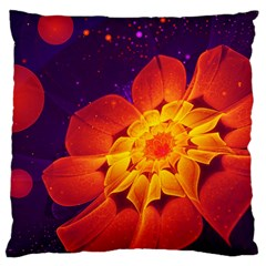 Royal Blue, Red, And Yellow Fractal Gerbera Daisy Large Cushion Case (one Side) by beautifulfractals