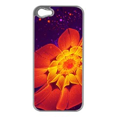 Royal Blue, Red, And Yellow Fractal Gerbera Daisy Apple Iphone 5 Case (silver) by jayaprime