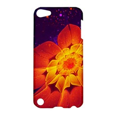 Royal Blue, Red, And Yellow Fractal Gerbera Daisy Apple Ipod Touch 5 Hardshell Case by jayaprime
