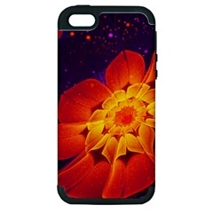 Royal Blue, Red, And Yellow Fractal Gerbera Daisy Apple Iphone 5 Hardshell Case (pc+silicone) by jayaprime