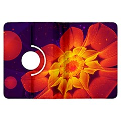 Royal Blue, Red, And Yellow Fractal Gerbera Daisy Kindle Fire Hdx Flip 360 Case by beautifulfractals