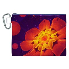 Royal Blue, Red, And Yellow Fractal Gerbera Daisy Canvas Cosmetic Bag (xxl) by beautifulfractals