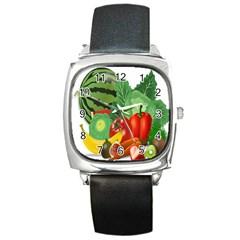 Fruits Vegetables Artichoke Banana Square Metal Watch