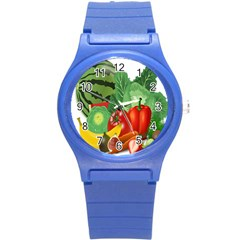 Fruits Vegetables Artichoke Banana Round Plastic Sport Watch (s) by Nexatart