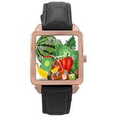 Fruits Vegetables Artichoke Banana Rose Gold Leather Watch