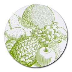 Fruits Vintage Food Healthy Retro Round Mousepads by Nexatart