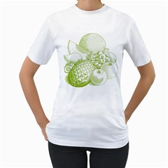 Fruits Vintage Food Healthy Retro Women s T Shirt (white) (two Sided)