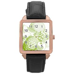 Fruits Vintage Food Healthy Retro Rose Gold Leather Watch  by Nexatart