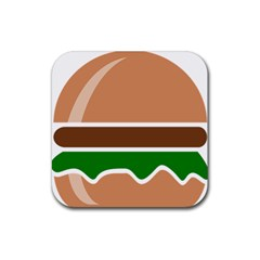 Hamburger Fast Food A Sandwich Rubber Square Coaster (4 Pack)