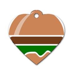 Hamburger Fast Food A Sandwich Dog Tag Heart (one Side)