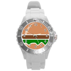 Hamburger Fast Food A Sandwich Round Plastic Sport Watch (l) by Nexatart