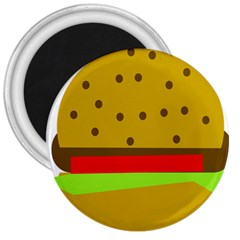 Hamburger Food Fast Food Burger 3  Magnets by Nexatart