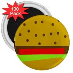 Hamburger Food Fast Food Burger 3  Magnets (100 Pack)