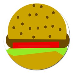 Hamburger Food Fast Food Burger Magnet 5  (round)