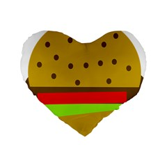 Hamburger Food Fast Food Burger Standard 16  Premium Flano Heart Shape Cushions by Nexatart