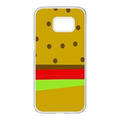 Hamburger Food Fast Food Burger Samsung Galaxy S7 Edge White Seamless Case